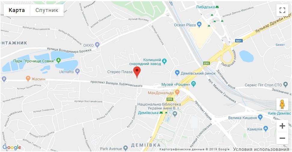 Адрес на карте компании Алиас-Киев